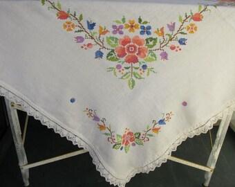 Vintage Linen Tablecloth, Cross stitch, Floral, square
