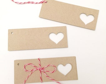 Heart Gift Tags - Set of 10 - Heart Favor Tags - Wedding Favor Tags - Kraft Gift Tags - Rustic Valentine Tags - Small Gift Tags