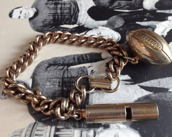 Football and Whistle 1950s Sports Charm Bracelet