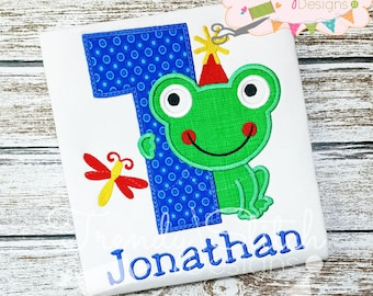 Frog Number 1 Applique Machine Embroidery Design INSTANT DOWNLOAD First Birthday