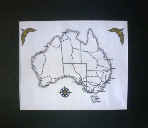 Embroidery kit australia map with gumnut fabric to
