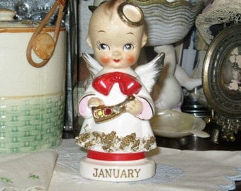 Precious Vintage January Angel Ceramic Collectible Angel Figurine/Home and Living/Home Decor/Vintage Accessory Figurine/January Angel