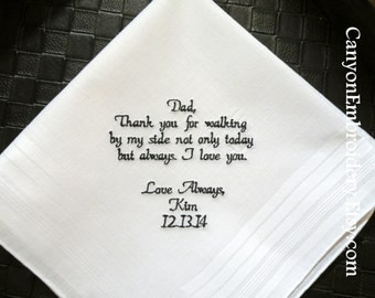 Embroidered Wedding Handkerchief Gift for Dad Father of the Bride