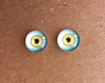 doll Glass eyes flat back 8 mm diameter 4 mm iris golden yellow