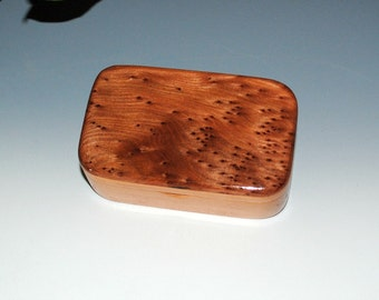 Redwood Burl on Cherry Handmade Wooden Trinket Box - USA Made by BurlWoodBox - Treasure Box , Wooden Box, Stash Box - Small Wood Box - Boxes