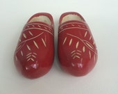 Red Wooden Clogs Made in Holland