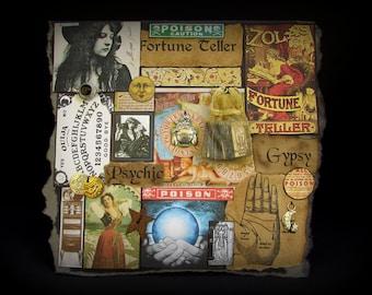 Fortune Teller Card, Gypsy Note Card, Gypsy Greeting Card, Halloween Gypsy Card, #85, Ouija, Collage Card, Black Card, Crystal Ball, Single