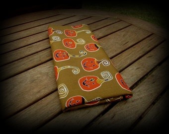 Pumpkin Fabric, Moss Green Fabric, 21 x 44 Inches, Green Orange Yellow, Cheeky Wee Pumpkins, Halloween Fabric, Halloween Material, Orange