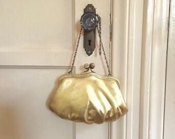 Gold Vintage Evening Bag, Shiny Metallic Lame Fabric Purse, Rhinestone Clasp, 50's  or 60's