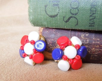 END of SUMMER SALE Vintage 60's Earrings, Red White and Blue Beaded Clip on Earrings,  Mid Century, Rockabilly