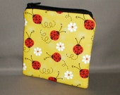 Coin Purse - Gift Card Holder - Card Case -Small Padded Zippered Pouch - Mini Wallet - Ladybugs and Daisies