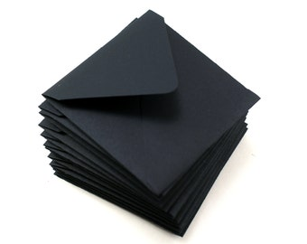 Mini square envelopes - 10 black envelopes - 2 3/4 x 2 3/4 - love notes, gift enclosure, packaging