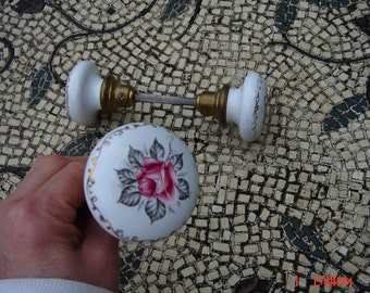 Vintage Ceramic/Glass Decorated and Brass Door Knobs