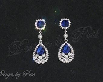 Bridal Royal Blue dangle earrings Wedding Cubic Zirconia Earrings Bridal Bridesmaids Prom Accessory.Jewelry