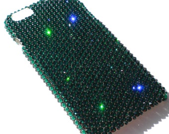 For Galaxy S5 - Emerald - Deep Green - Rhinestone BLING Back Case handmade with 100% Crystals from Swarovski