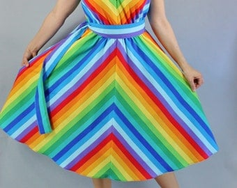 Womens Handmade Rainbow Pride Cotton Dress // Alternative Wedding Dress