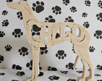 Galgo Handmade Fretwork Wood Jigsaw Puzzle by dogWoodbyDave on Etsy