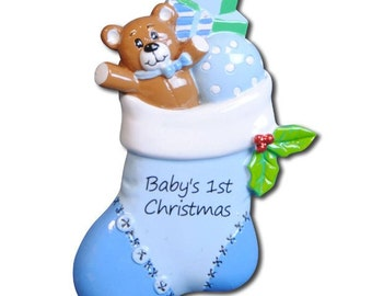 Personalized Blue Stocking Baby Boy's First Christmas Ornament - Newborn, Baby Shower Gift