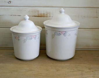 Pfaltzgraff Canisters - Wyndham Pattern - Replacement Kitchen Canister - Flour & Coffee Canisters - 1985