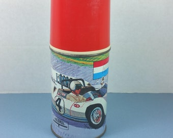 AUTO RACE THERMOS, King-Seeley, Steel Bottle No. 2806, 1967, Vintage Lunchbox, Collectible, Car or Racing Decor