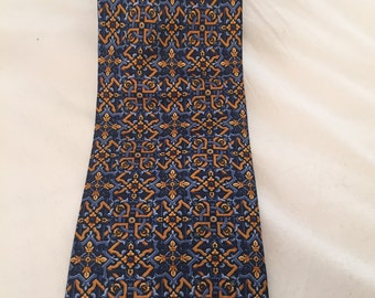 Regal Gold Trellis on Blue Vintage METROPLITAN MUSEUM of ART Silk Necktie