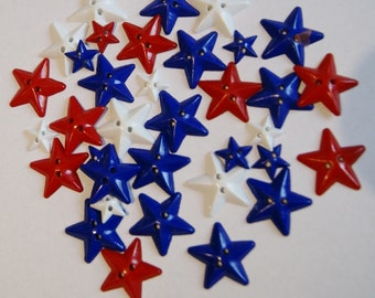 34 Star Buttons, Red White Blue, Patriotic Star Buttons, July 4th ( 34)