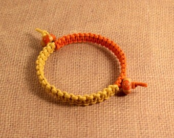 Orange and Yellow Bangle Macrame Beaded Bracelet