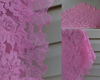 Pink -  triangular lace net Headcovering - Church or Chapel veil mantilla scarf - floral -
