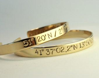 Custom Coordinate Bracelet . Personalized Location Cuff Bracelet . Longitude and Latitude Jewelry . GPS Gift . Tatum Bradley & Co