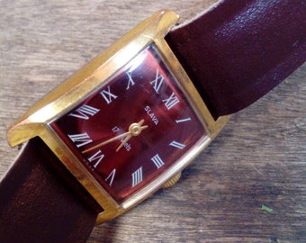 Vintage Russian mechanical watch Slava from Soviet Union period, gold covered ladies wristwatch