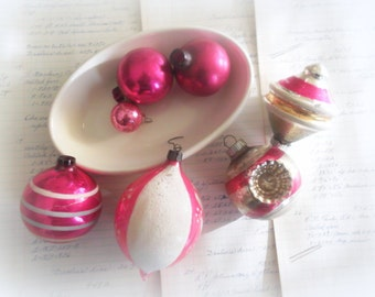 Pink Christmas Ornaments Six Mercury Glass Balls Primitive Holiday Decor Shabby Cottage