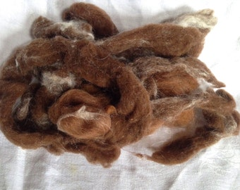 Build a Batt .7 ounce of alpaca and silk roving brown with white