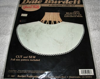 Dale Burdett Designer Collar Kit (cut and sew pattern) includes austrian lace & embroidered motifs