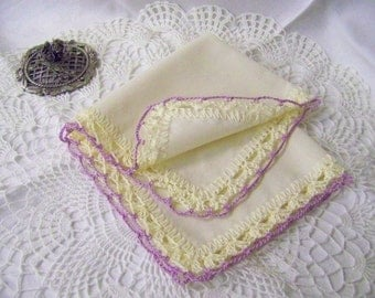 Personalized Bridesmaids Gift, Monogrammed, Hand Crochet, Handkerchief, Hanky, Hankie, Lace, Lavender, Cream, Bridal Party Gift, Ladies