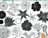 SALE - Fresh Flower ClipArt, Rose LineArt, Hand Drawn Flower Outline & Digital Stamp Silhouette PNG + PS Brush, Flower Clip Art