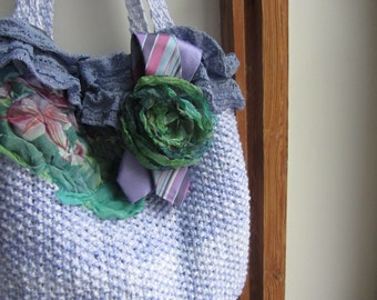 Lavender Purple Knit Hobo Bag, Boho Shabby Chic Market Tote, Medium Size Tote, Mori Girl Bag, Upcycled Recycled Purple Handbag, Gypsy Chic