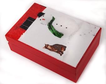 Frosty the Snowman Cat Art Keepsake / Memory Box, Large, Wooden,  Gray Tabby Cat, Christmas Gift Ideas, Cat Artwork, Deborah Julian