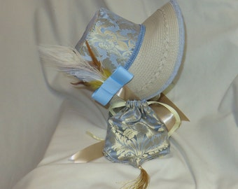 Light Blue and Gold Stovepipe Bonnet and Reticule- Regency, Georgian, Jane Austen Era Bonnet and Purse
