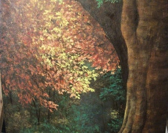 Fall, Autumn, Tree, Woods, Garden, Path, Sunlight, Forest, Free Shipping, Original Landscape Oil Painting