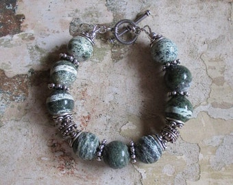 Green Zebra Jasper and Sterling Bracelet
