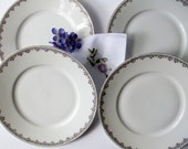 Vintage Purple Rose Dinner Plates Paul Muller Bavarian Set of Four