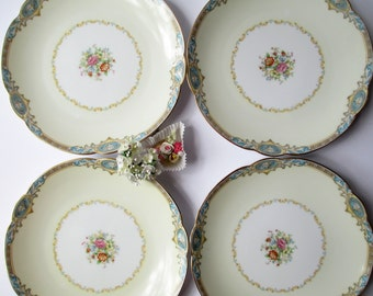 Salad Plates Noritake Marvelle Blue Floral Set of Four - Vintage Chic Weddings Bridal