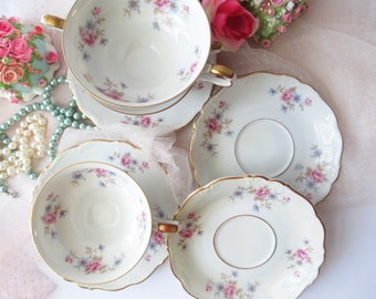 Teacups and Saucers Edelstein Florence Floral Set of Four - Vintage Charm