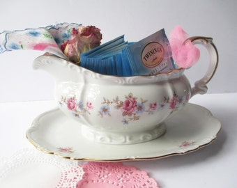 Vintage Rose Floral Gravy Boat Pink Blue Edelstein Florence - Weddings Tea Parties