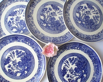 Vintage Blue and White Blue Willow Style Luncheon Plates Set of Five
