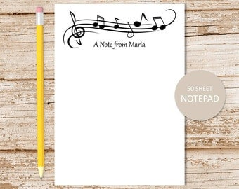 personalized music notepad . music note pad . personalized stationery . music notes border . teacher gift . musician band member gift