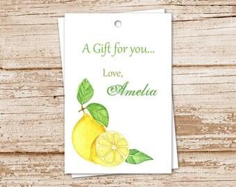 PRINTABLE lemon gift tags . lemon favor tags . personalized . watercolor lemons . fruit tags . birthday gift tags . You Print