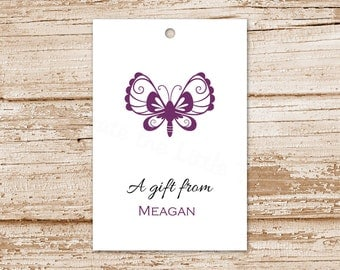 personalized butterfly gift tags . butterfly favor tags . birthday gift tags . set of 12