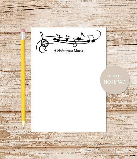 personalized music notepad . music note pad . personalized