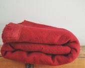 Vintage Red 100% Wool Golden Dawn Blanket JC Penney Vintage Solid Dark Cherry Red Woolen Blanket 70 x 86